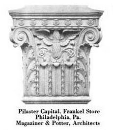 One of the terra cotta pilaster capitals now stuck under the stucco, featured in a Conkling-Armstrong Terra Cotta advertisement | Source: Architectural Forum, Volume 26