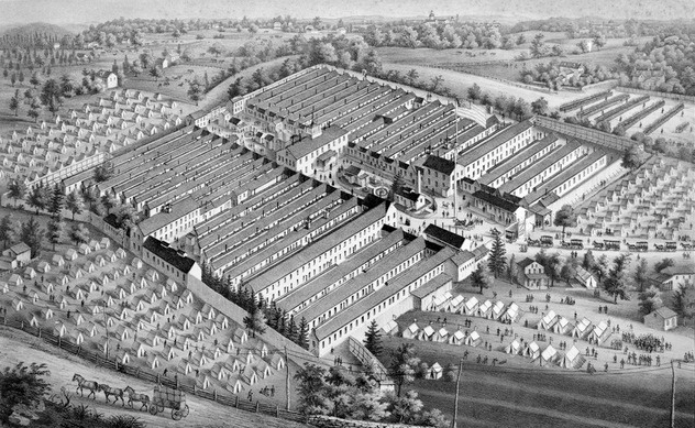 A print presenting a bird's eye view of the Saterlee General Hospital. The center of the medical campus is now roughly the 4400 block of Osage Avenue in West Philadelphia.