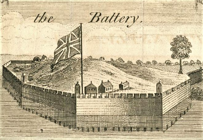 The Association Battery (a.k.a. the Grand Battery), erected in 1748 on a hill near Gloria Dei Church. From www.preserveoldswedes.org