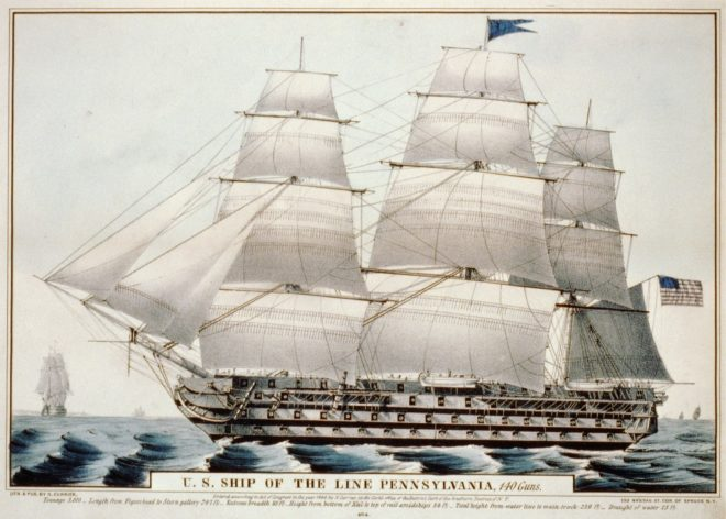An 1846 Currier-Ives print of the ship-of-the-line USS Pennsylvania, completed in 1837 at the first Philadelphia Navy Yard. Library of Congress.