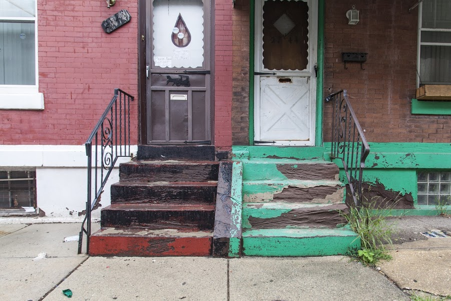 Weathered brownstone stoops peek out beneath layers of paint in West Philadelphia. | Photo Starr Herr-Cardillo & Monument Lab Artist Stands Up For The Cityu0027s Lost Stoops | Hidden ... pezcame.com